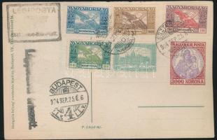 1924 Esztergom- Budapest címezetlen légi képeslap