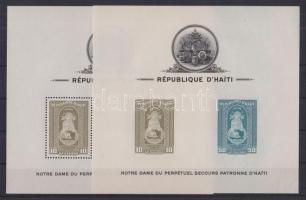 1942 Szűz Mária Haiti védőszentje blokksor Mi 1-3 fogazott + vágott (3 stecklapon) / Blocks Mi 1-3 perforated + imperforate