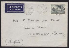 1936 Repülő 80f légi levélen Angliába / Airmail cover to England