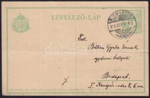 1914 Díjjegyes levelezőlap KISMARTON - Budapest