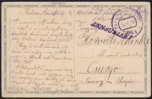1918 Tábori posta képeslap HFP 500/b - Csurgó