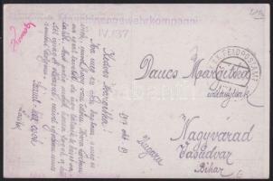1917 Tábori posta Képeslap Romániából FP 620 - Nagyvárad