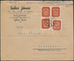 1946 (19. díjszabás) Levél Csehszlovákiába 16.000 helyett 15.100 milpengő bérmentesítéssel / Cover to Czechoslovakia franked with 15.100 instead of 16.000 milpengő