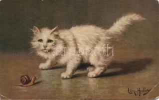 Cat and snail s: Léon Hubert, Macska és csiga s: Léon Hubert