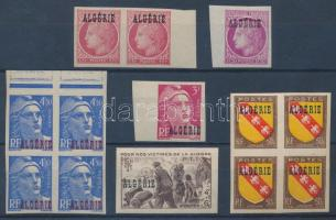 1945 6 klf vágott bélyeg közte párok és négyestömbök / 6 different imperforate stamps incl. units