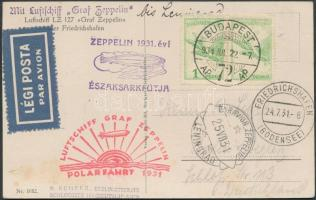 1931 Zeppelin északi sarki útja képeslap leningrádi ledobással / Zeppelin flight to the North Pole, postcard Leningrad release