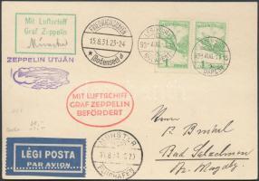 1931 Zeppelin münsteri útja levelezőlap / Zeppelin flight to Münster, postcard