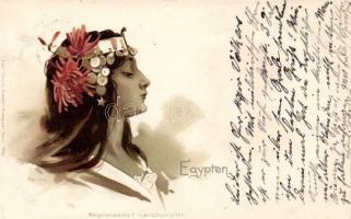 Egyptian folklore, lady Morgenlandische Frauenschönheiten litho, Egyiptomi hölgy, Morgenlandische Frauenschönheiten litho
