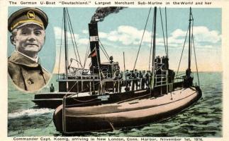 1916 German U-boat Deutschland, merchant submarine, Captain König arriving in New London