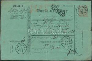 1874 Díjjegyes postautalvány / PS-money order JÁSZ KIS ÉR - BUDAPEST
