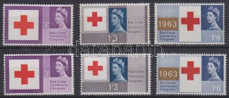 1963 Vöröskereszt Mi 362-364 foszforos és foszfor nélküli sor