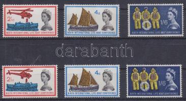 1963 Mentőhajó konferencia Mi 359-361 foszforos és foszfor nélküli sor