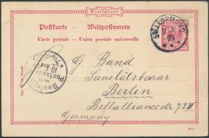 Deutsch Südwestafrika 1899 Német birodalmi díjjegyes / PS-card from Germany SWAKOPMUND - Berlin
