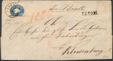 """15kr strongly shifted perforation (lightly folded) + 1858 10kr piece, mixed franking on registered cover with content """"BAROTH"""" (Gudlin 200p) """"RECOM."""" - """"HERMANNSTADT"""" - """"KLAUSENBURG"""", 15kr látványos képbefogazással (enyhe hajtásnyom) + hátoldalon 1858 10kr kis darabja, vegyes bérmentesítés! ajánlott levélen (tartalommal) """"RECOM."""" - """"HERMANNSTADT"""" - """"KLAUSENBURG"""""""