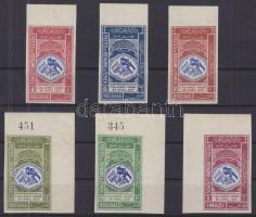 1939 Arab egység vágott sor (közte ívszéli és ívsarki bélyegek) Mi 21-26