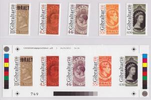2011 125 éves a gibraltári bélyeg limitált kiadású sor + vágott próbanyomat blokk, példányszám:1000 db!