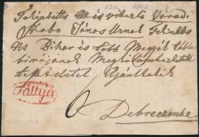 ca 1840 Portós levél / cover with postage due, piros / red Tállya - Debrecen