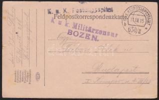 1915 Tábori lap kórházból K.u.k. Festungsspital + HFP 630/II b