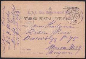 1916 Tábori lap / Field postcard K.u.K Mob. Reservespital 3/D + FP 508a - NEMESVÖLGY POSTAI ÜGYN