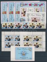 1981 Károly és Diana esküvője sor 2 féle háttérszínnel, blokk, kisívsor, vízjeles kisívpár, bélyegfüzet