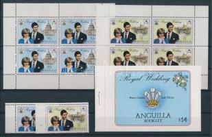 1981 Károly és Diana esküvője vízjeles sor (2 é), kisívpár, bélyegfüzet