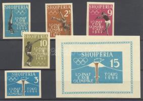 1962 Tokiói olimpia Mi 657-661 + blokk 8 vágott