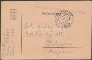 1918 Tábori lap tábori kórházból / Field postcard from field hospital K.u.K. Feldspital Nr 1503 + FP 375