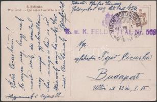 1918 Képeslap tábori kórházból / Postcard from field hospital K.u.K. FELDSPITAL Nr 509 + HP 450