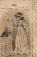 Little Girl, cat, E.S.D.B. Serie 704., Kislány, macska, E.S.D.B. Serie 704.