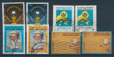 1987 10 éves az Al Ain egyetem sor Mi 225-226 + Hajléktalanokért sor Mi 237-238 + Salim Bin Ali Al-Owais születésnapja sor Mi 239-240 + 1988 Nemzeti művészeti fesztivál sor Mi 245-246