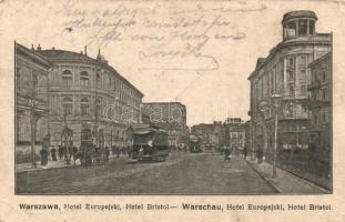 Warsaw, Warszawa; Hotel Europejski, Hotel Bristol, tram