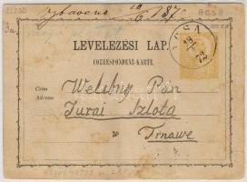 1872 Díjjegyes levelezőlap ACSA - Nagyszombat