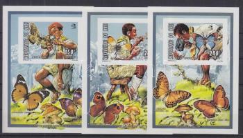 1995 Cserkészet: Lepkék és gombák 3 bélyeg blokkformában Mi O 68 B - Q 68 B