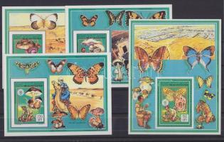 1991 Cserkészet: Gombák és lepkék 3 klf bélyeg vágott blokkformában Mi 987-988, 991 + blokk Mi 74