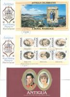 1981 Károly és Diana esküvője bélyegfüzet + a füzetlapok 2 FDC-n