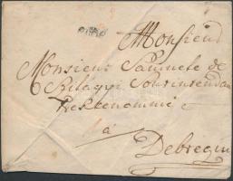 1779 Portós levél Bude - Debrecin