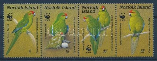 1987 WWF papagájok sor négyescsíkban Mi 421-424