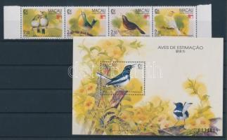 1995 Nemzetközi bélyegkiállítás, Szingapúr: Énekesmadarak négyescsík Mi 814-817 + blokk 30