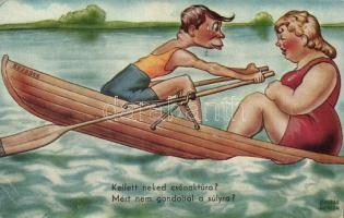 Csónaktúra, humor s: Kaszás Jámbor Couple in the boat, humor s: Kaszás Jámbor