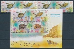 2002 Tengeri teknősök négyescsík Mi 525-528 + blokk Mi 31