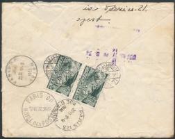 1936 Repülő 80f pár expressz légi levélen Párizsba / Express airmail cover to Paris