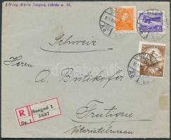 1935 Arcképek 2f + Repülő 16f + 72f ajánlott levélen Svájcba / Registered cover to Switzerland