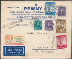 1935 Ajánlott légi levél Párizsba Repülő és Arcképek bérmentesítéssel / Airmail cover to Paris