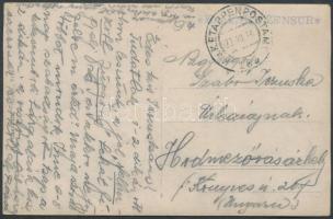 1916 Képeslap tábori postával KuK H. B. ZENSUR + EP 185