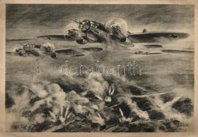 Deutscher Kampfflugzeugverband im Angriff / WWII German Fighter Aircraft in attack s: R. Hess, II. világháborús vadászgép támadás közben s: R. Hess