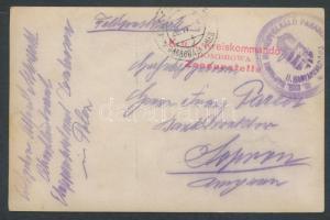 1915 Fotó képeslap EP DABROWA in POLEN a + Kreiskommando DOMBROWA Zensurstelle