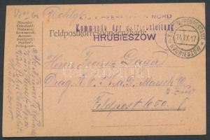 1916 Tábori lap / Field postcard EP HRUBIESZOW c + K.u.K. HEERESBAHN NORD Kommando der Betriebsleitung HRUBIESZOW