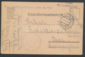 1917 Tábori lap / Field postcard EP ZAMOSC + Landsturm-Etappen-Baon Nr 213