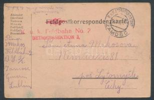 1917 Tábori lap EP ZAMOSC + Feldbahn No 2 BETRIEBSSEKTION 3