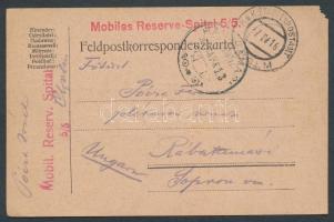 1916 Tábori lap tábori kórházból / Postcard from field hospital Mobiles Reserve Spital 5/5 + EP CHOLM